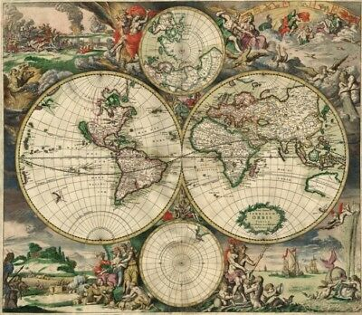 *Antique Map DATED 1689 Richly Embellished Office Man Cave Great Display LQQK!
