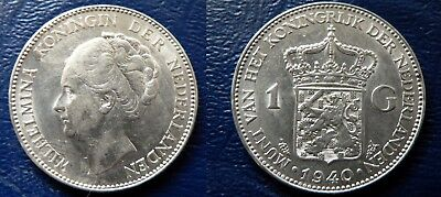 NETHERLANDS 83% silver GUILDER dated 1940 - nice grade coin