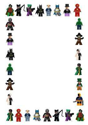 25 x Lego Batman Movie Themed Writing Paper - A5 Preprinted Stationery - Unlined