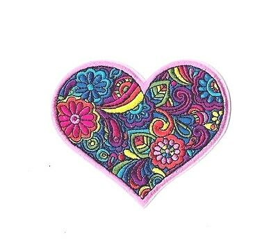 PINK HEART FLOWER RAINBOW PATCH IRON ON / SEW ON Love Embroidered Badge PT211