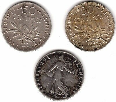 Collection Of France Silver 50 Centimes***Collectors***(FR3)