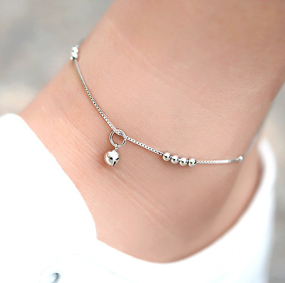 New! Solid 925 Sterling silver Beads and Ball Charm Anklet + Gift bag!