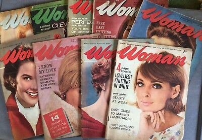 Vintage Woman Magazines. 1960's. Scrapbooking. Birthday. 9 Issues.