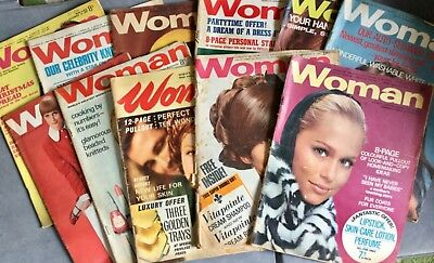 Vintage Woman Magazines. Late 1960's. Scrapbooking. Birthday. 11 Issues.