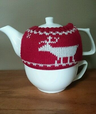 Tea for one Teapot  And Cup With Moose Sweater Warmer.