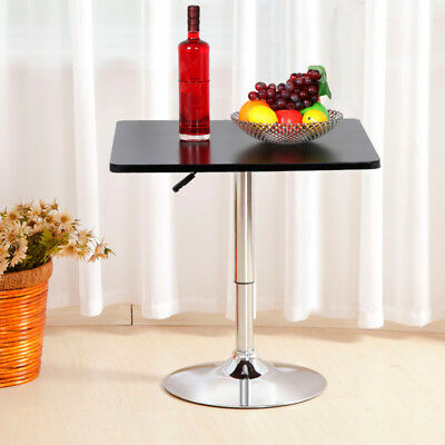 Tall Round/Square Top Black Height Adjustable Swivel Bar Table with Chrome Base