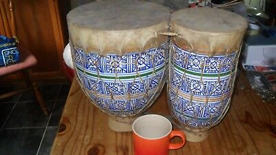 Morrocan Pottery & Animal Skin - Double Bongo Drums - Traditional hand painted