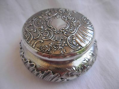 ANTIQUE FRENCH SOLID SILVER ROUND BOX,LOUIS XV STYLE,LATE 19th CENTURY