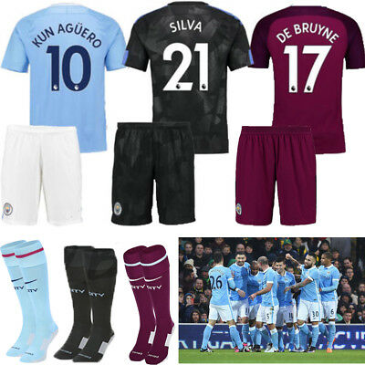 17-18 Football Jersey Soccer Short Sleeve Kits 3-14Y Boys Kids+SocksAU Seller