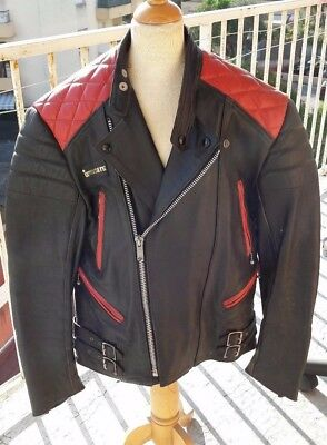 BLOUSON MOTO CUIR INTERSTATE HOMME VINTAGE taille UK 42 FRANCE 52