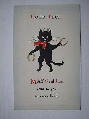 Nice Vintage Greetings Postcard-  Black Cat - Good Luck May Good Luck Come To-