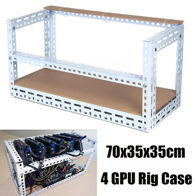 Steel Crypto Coin Open Air Mining Frame Rig Case For 4 GPU ETH BTC Ethereum