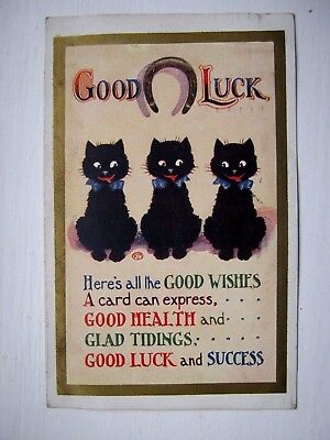 Nice Vintage Greetings Postcard-  Good Luck .( Black Cats )( Posted 1930)