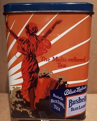 LOVELY LARGE VINTAGE BUSHELLS BLUE LABEL TEA TIN made by Willow Australia