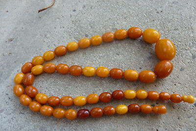 Antike Bernsteinkette, Bernstein Oliven natural amber necklace butterscotch