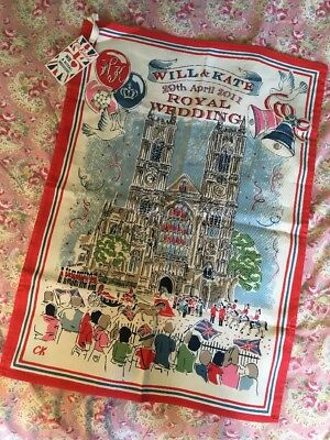 Cath Kidston Tea towel - Rare Will & Kate Royal Wedding 2011 With Certificate