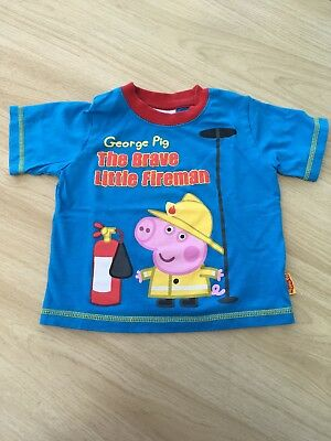 Peppa Pig - George The Fire Man T Shirt By Mother Care Age 1 1/2- 2