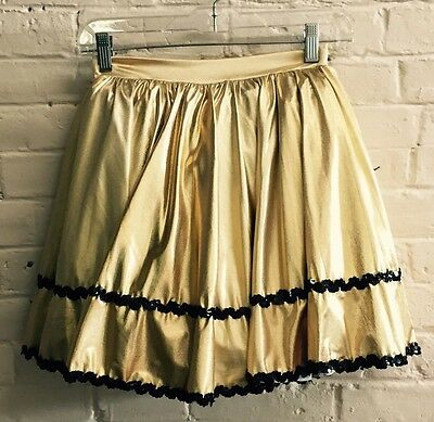 Vtg L Girl Small Adult Gold Dance Costume Sequins Full crinoline Mini Skirt EUC