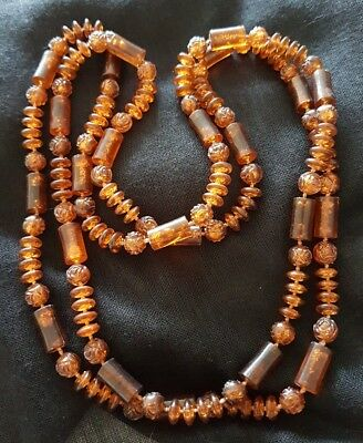 Vintage Long Amber Coloured Bead Necklace