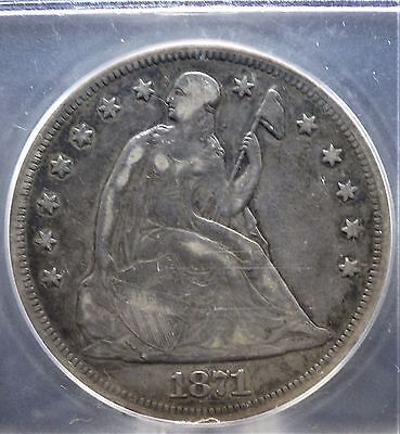 1871 Seated Liberty Silver Dollar ICG VF25