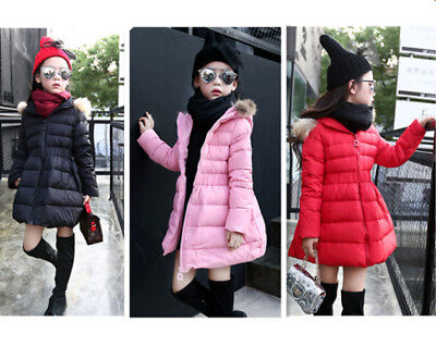 Kids Girls Winter Hooded Hoodies Outwear Trench Down Coat Jacket Overcoat Parka