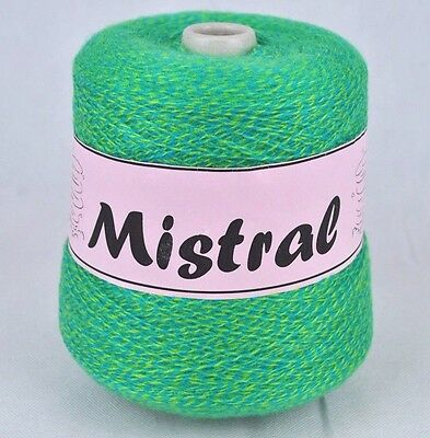 Mistral Shamal Forsell 3 Ply Knitting Machine Cone Yarn Wool ~ 400g Green Blue