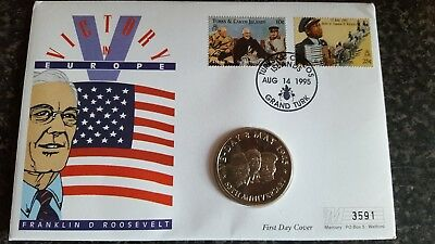 FIRST DAY COVER 5 CROWN COIN  VE Day 50th Anniversary 1995  Turks Caicos