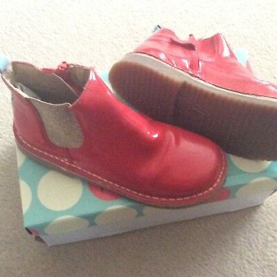 Mini Boden Girls Red Patent Leather Chelsea Boots Size 34/uk 2