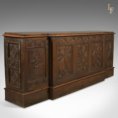 Antique Long Cupboard, c.1700 and Later English Carved Oak Dresser Base Cabinet