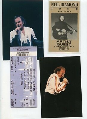 Neil Diamond '88/89-After Show Pass+Full Ticket+2 On Stage Photos-Signed LR