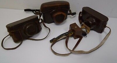 Joblot of 3x Vintage Leica leather camera cases  *