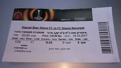 Hapoel Beer Sheva - Steaua Bucharest Bucuresti europa league ticket stub