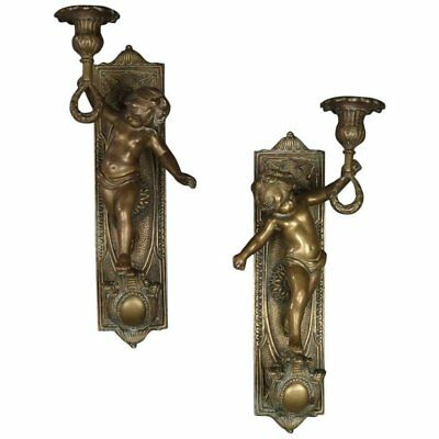Pair of Large French Antique Figural Bronze Cherub Wall Sconces, 19th Century