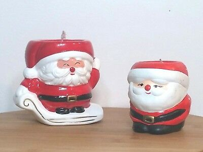 Christmas Santa Claus Candle Holder with Candle Hand Painted Lot of 2