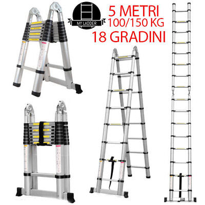 Scala Telescopica Richiudibile Multiuso In Alluminio 2,8M 5M 18Gradini 100/150Kg