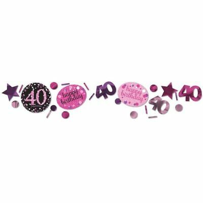40th Birthday Confetti Table Decoration Sprinkle Black Pink Purple Age 40 Party