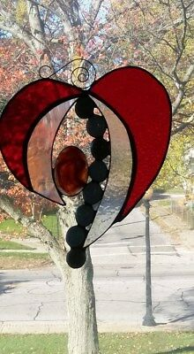 stained glass, heart, window panel, hand crafted, glass heart, leaded glass, USA