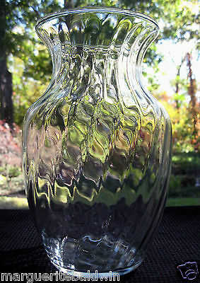 "Indiana Glass Clear Crystal Optic Swirl 8"" Vase"
