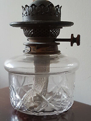 Vintage Hinks Duplex Patent Brass Oil Lamp Burner With Cut Glass Font