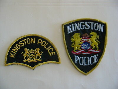 Original Rare Old Style Kingston Police , ( 2 ) Patches, Ontario, Canada