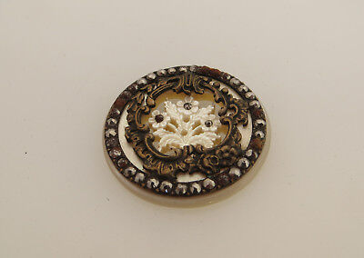 Beautiful Mother Of Pearl Button - Steel Stud / Brass Coloured Metal Detail?