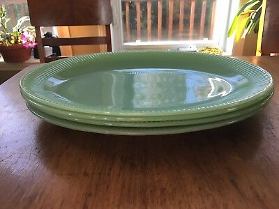 4 X Oval platter plate Jane Ray Jadeite by Fire King