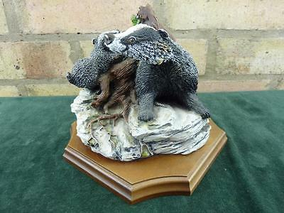 Vintage Fraser art Bossons First Friend Badgers figurine Limited edition