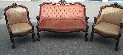 Victorian Mahagony Carved Love Seat and Chairs Paw Feet.