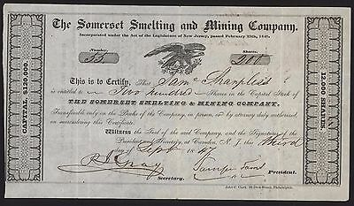 THE SOMERSET SMELTING & MINING CO. Stock Certificate 200 Shares 1847 New Jersey