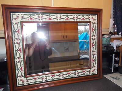 Vintage Mirror rectangular with a art deco tile surround by Johnson's and a velv