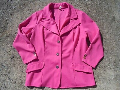 SWEET Women's Vintage Hot Pink with Gold Buttons Poly Blazer Jacket Designer