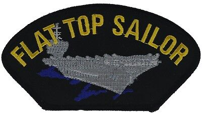 Navy Flat Top Sailor 5 inch Black Silver Cap Hat Embroidered Patch F2D10F