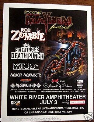 Rob Zombie Mastodon Machine Head Mayhem Festival 2013 Original Concert Handbill