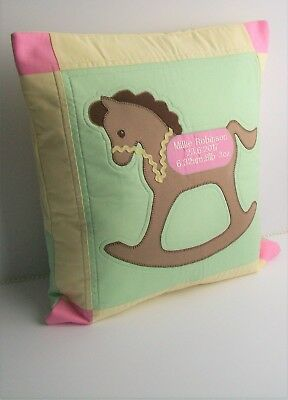 Personalised cushion. Name Date Birth time Embroidered keepsake . Rocking horse